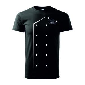 Fekete chef kabát mintás férfi póló
