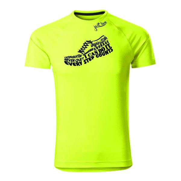 Futócipő mintás go run feliratos férfi futó póló. Sztreccs, gyorsan száradó anyag.