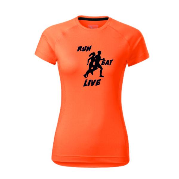 Női feliratos és mintás futó póló, gyorsan száradó anyagból.