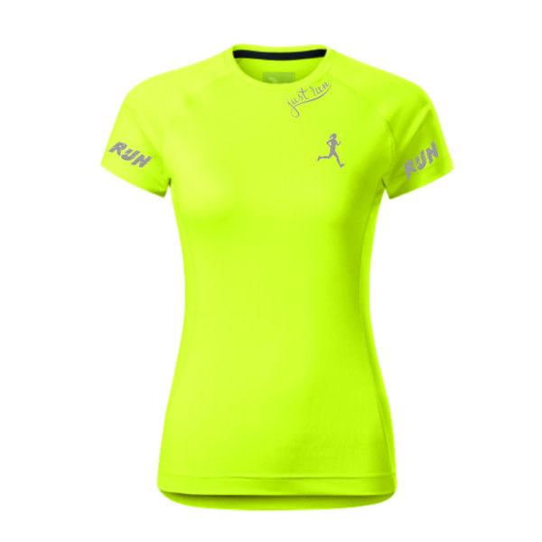 Mintás, fényvisszaverős feliratos női futó póló.