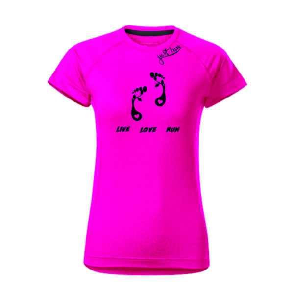 Női mintás futó póló, sztreccs gyorsan száradó anyagból.