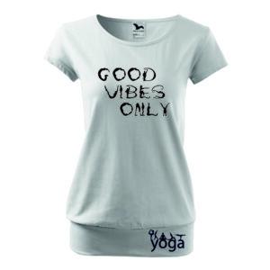 Feliratos fehér női jógás póló