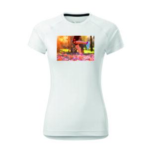 Képes és feliratos női futó póló. Sztreccs, gyorsan száradó anyag.