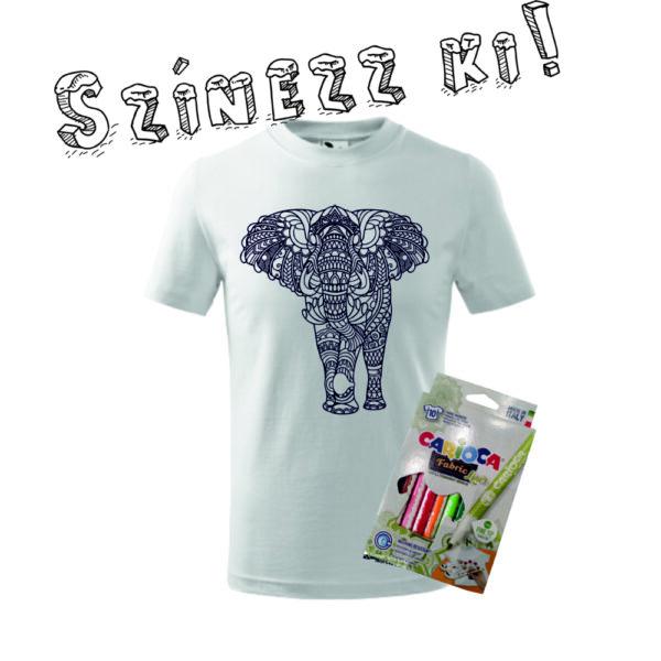 Elefánt mintás színezős gyermek póló