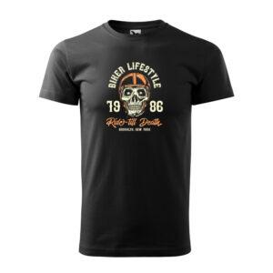 Biker lifestyle férfi fekete póló
