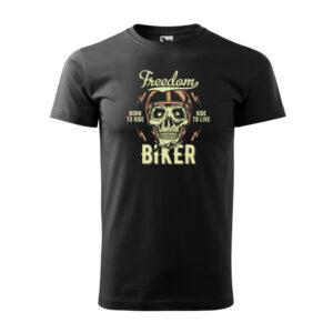 Freedom biker fekete férfi póló
