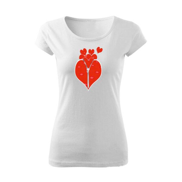 Szívecske cipzár mintás póló