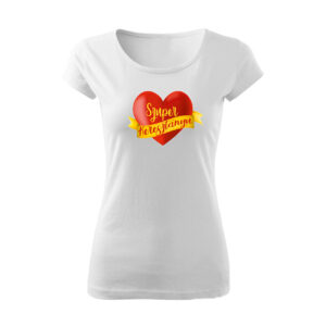 Szuper keresztanya szívecske mintás póló
