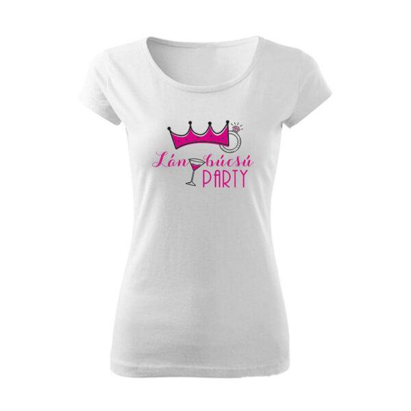 Koronás lánybúcsú party női póló